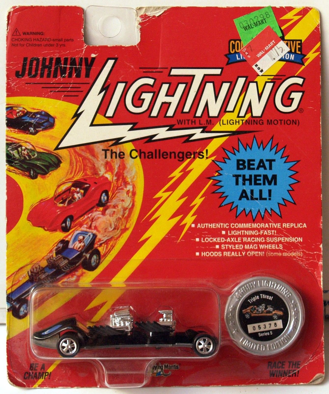 JOHNNY LIGHTNING COMMEMORATIVE - BLACK TRIPLE THREAT - SERIES 5 E+