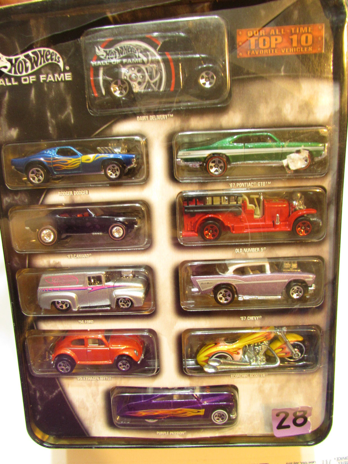HOT WHEELS HALL OF FAME 10 CAR PACK DAIRY DELIVERY '67 CAMARO TIN BOX