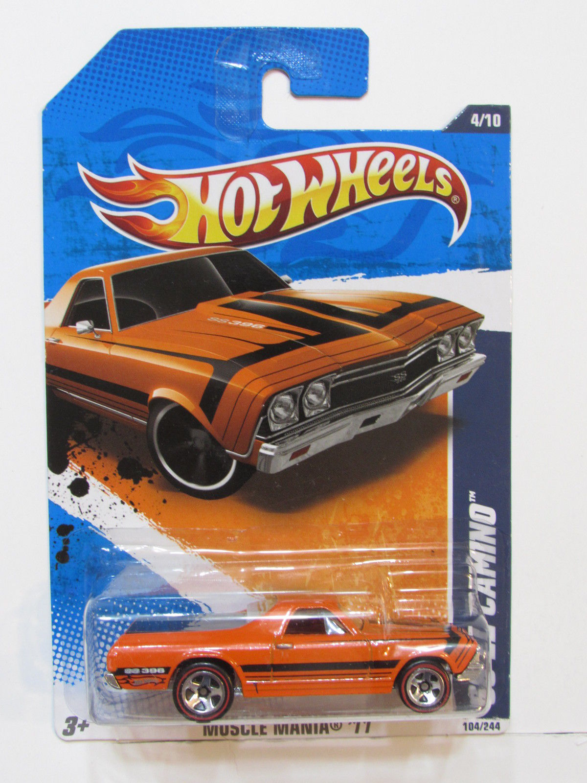 HOT WHEELS 2011 MUSCLE MANIA '68 EL CAMINO ORANGE REDLINE WHEELS