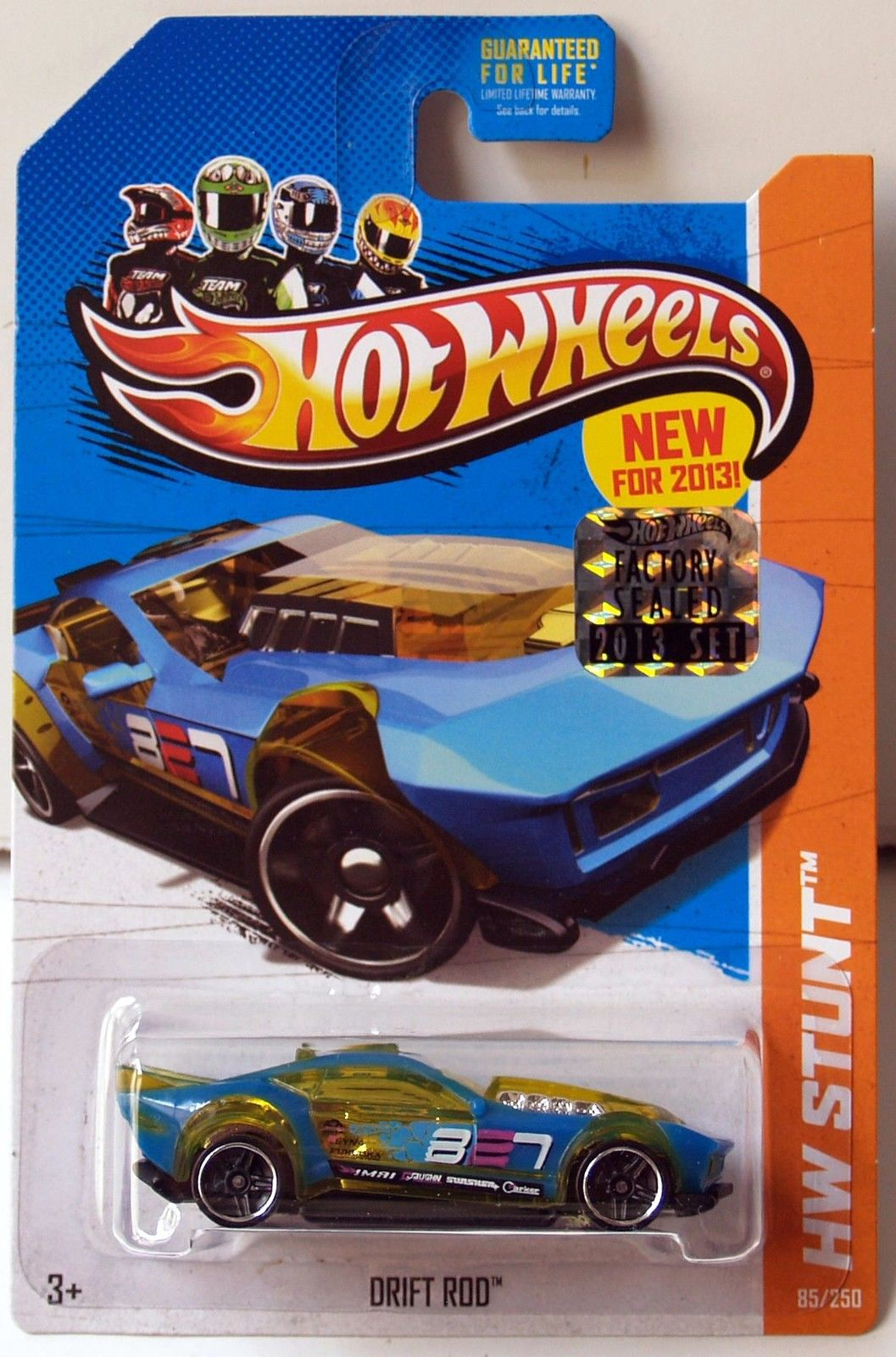 HOT WHEELS 2013 HW STUNT DRIFT RACE DRIFT ROD YELLOW FACTORY SEALED