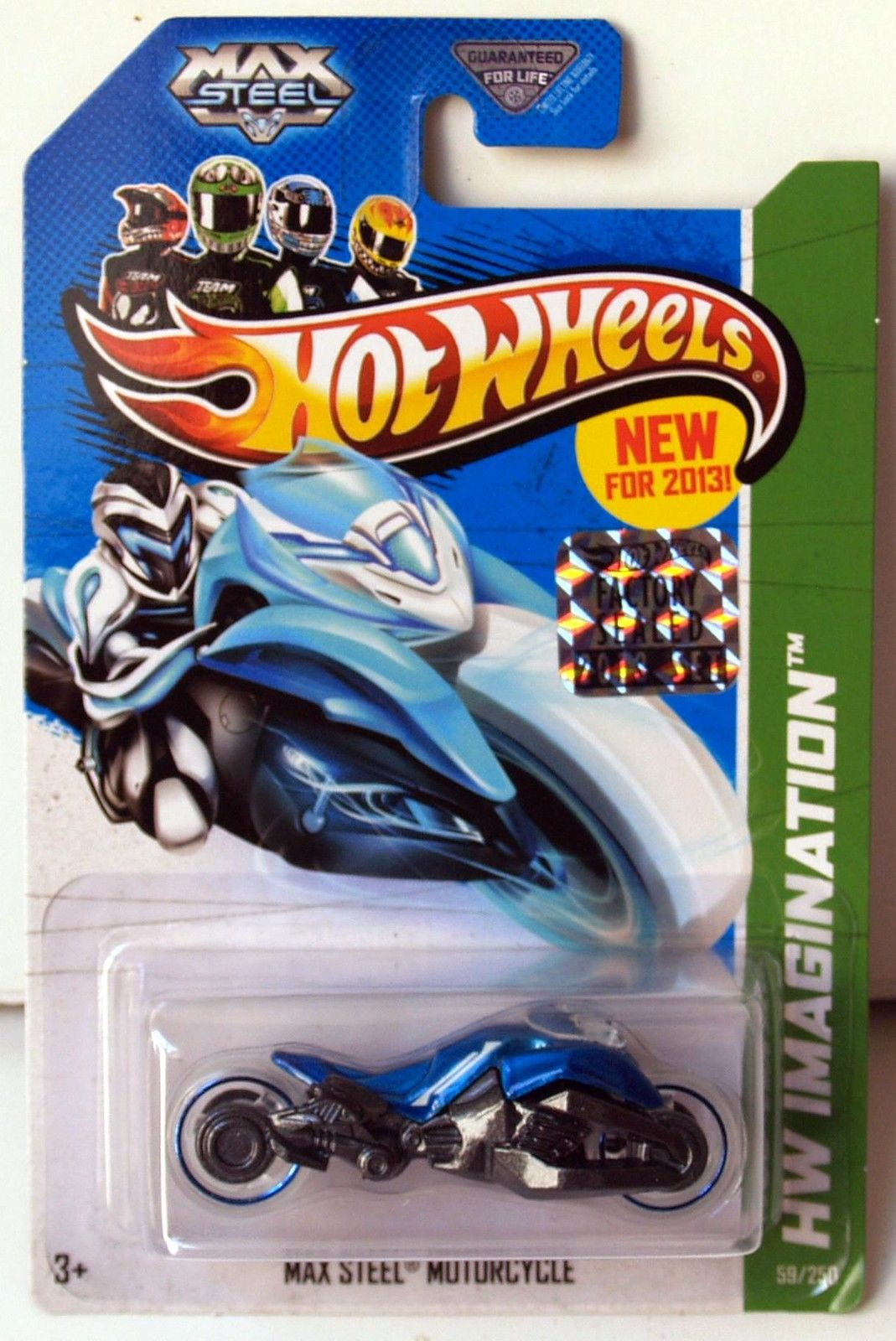 HOT WHEELS 2013 HW IMAGINATION MAX STEEL MOTORCYCLE BLUE FACTORY SEALED