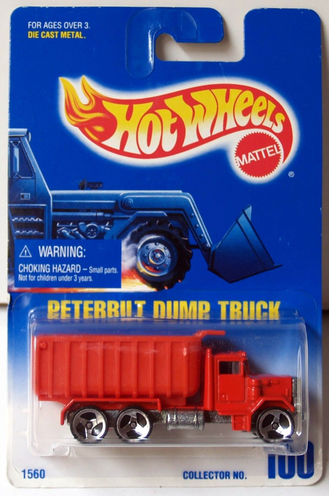 HOT WHEELS 1991 BLUE CARD PETERBILT DUMP TRUCK W/ 3 SP WHEELS