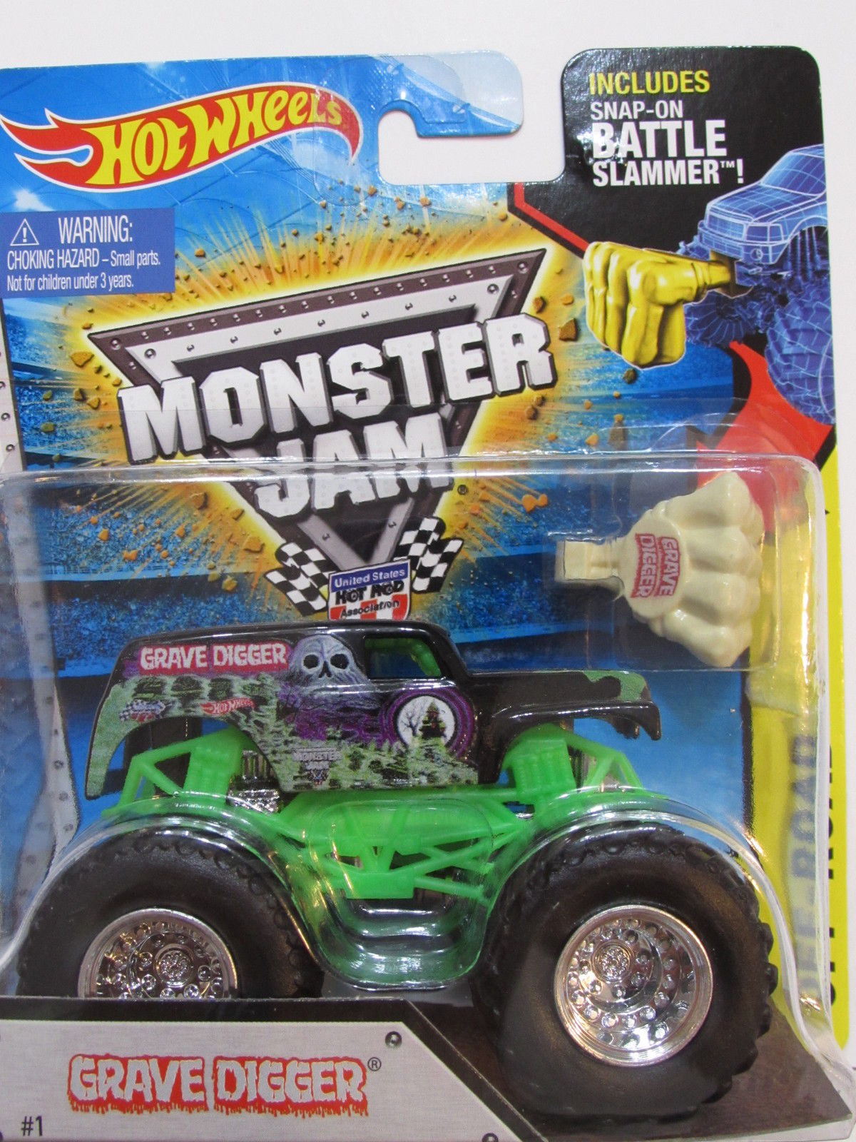 HOT WHEELS MONSTER JAM INCLUDES SNAP-ON BATTLE SLAMMER GRAVE DIGGER