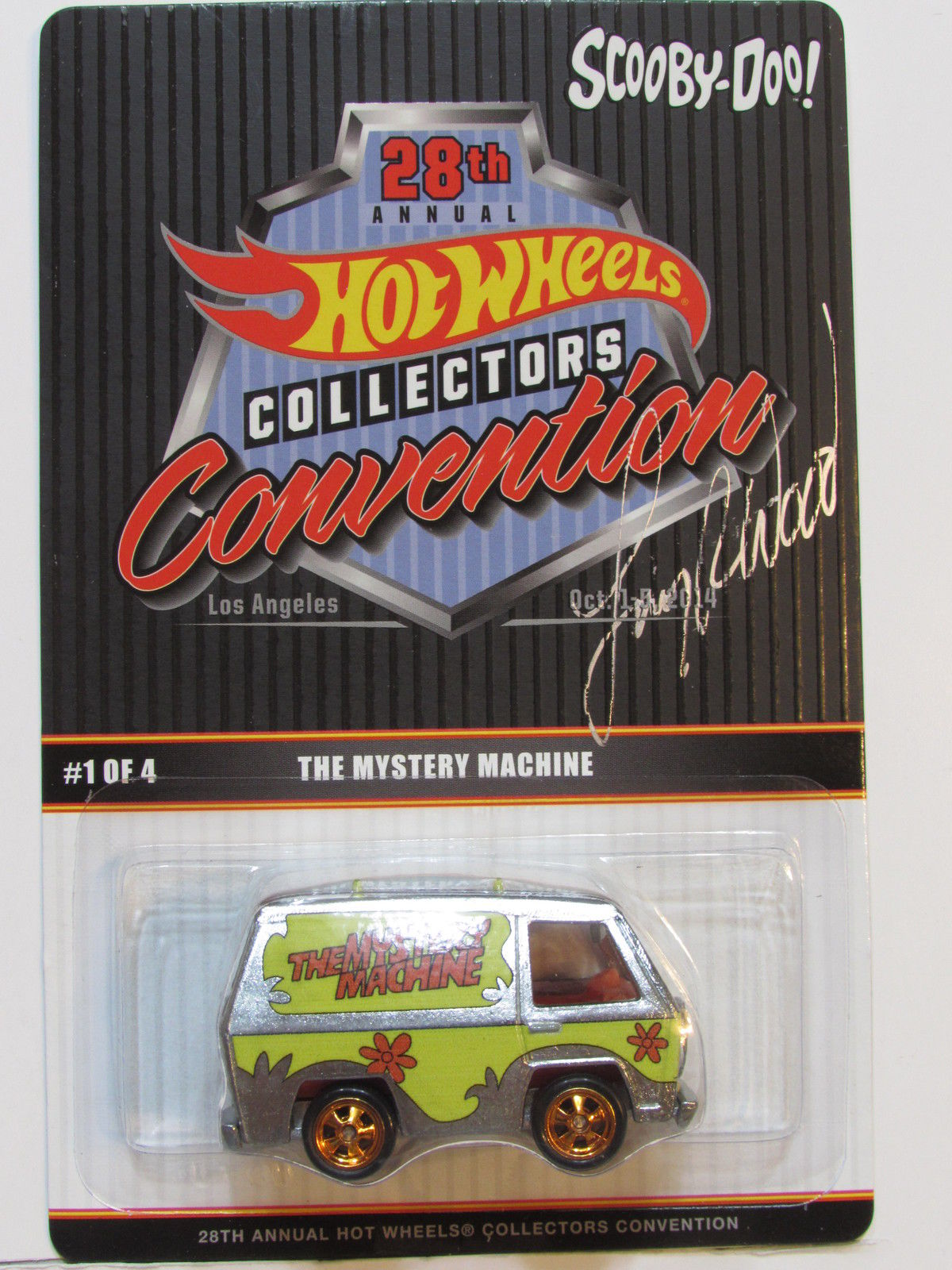 HOT WHEELS 2014 28th CONVENTION THE MYSTERY MACHINE AUTOGRAPHED BY LARRY WOOD