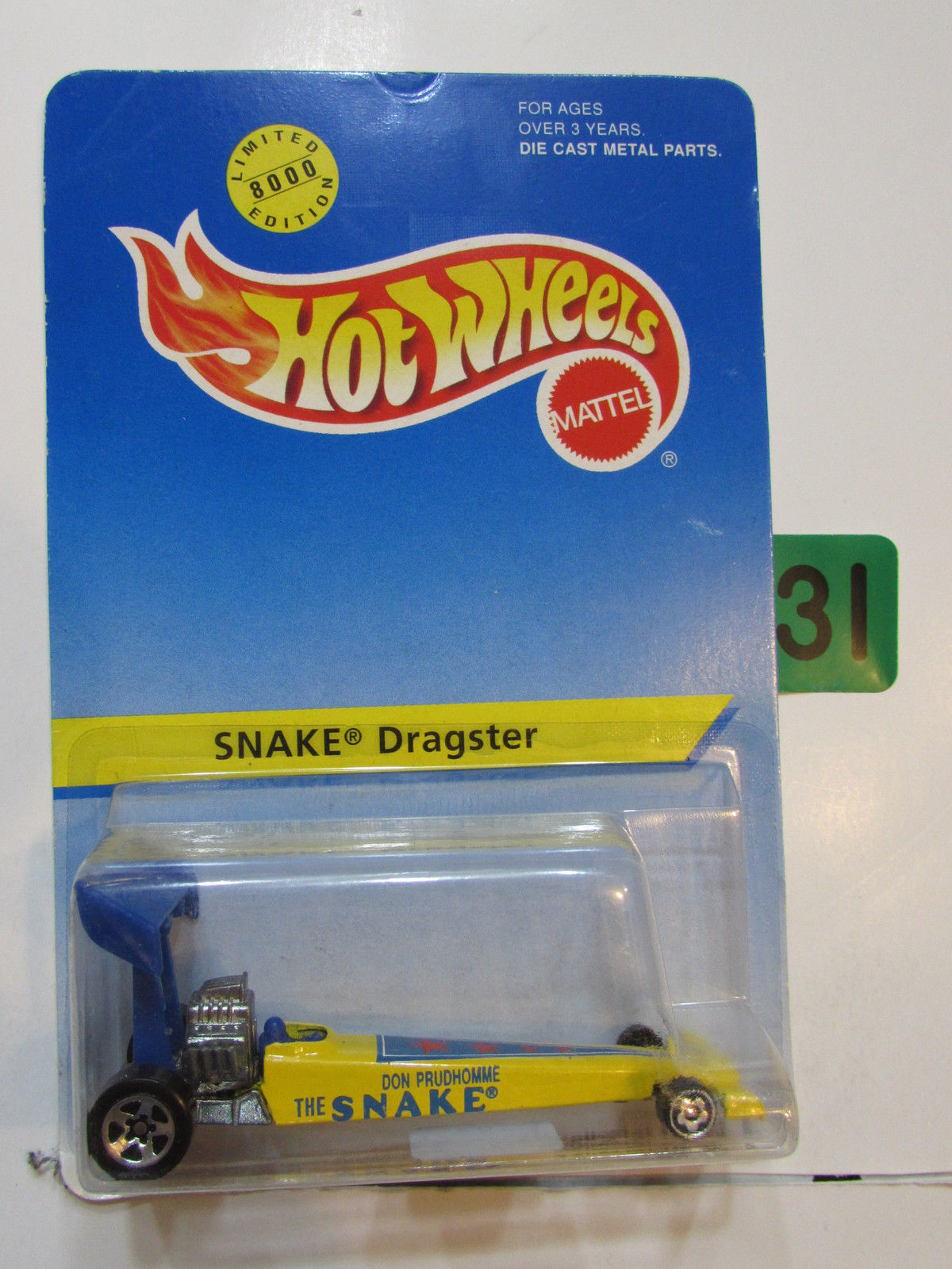 HOT WHEELS 1995 LIMITED 8000 EDITION SNAKE DRAGSTER #91 YELLOW