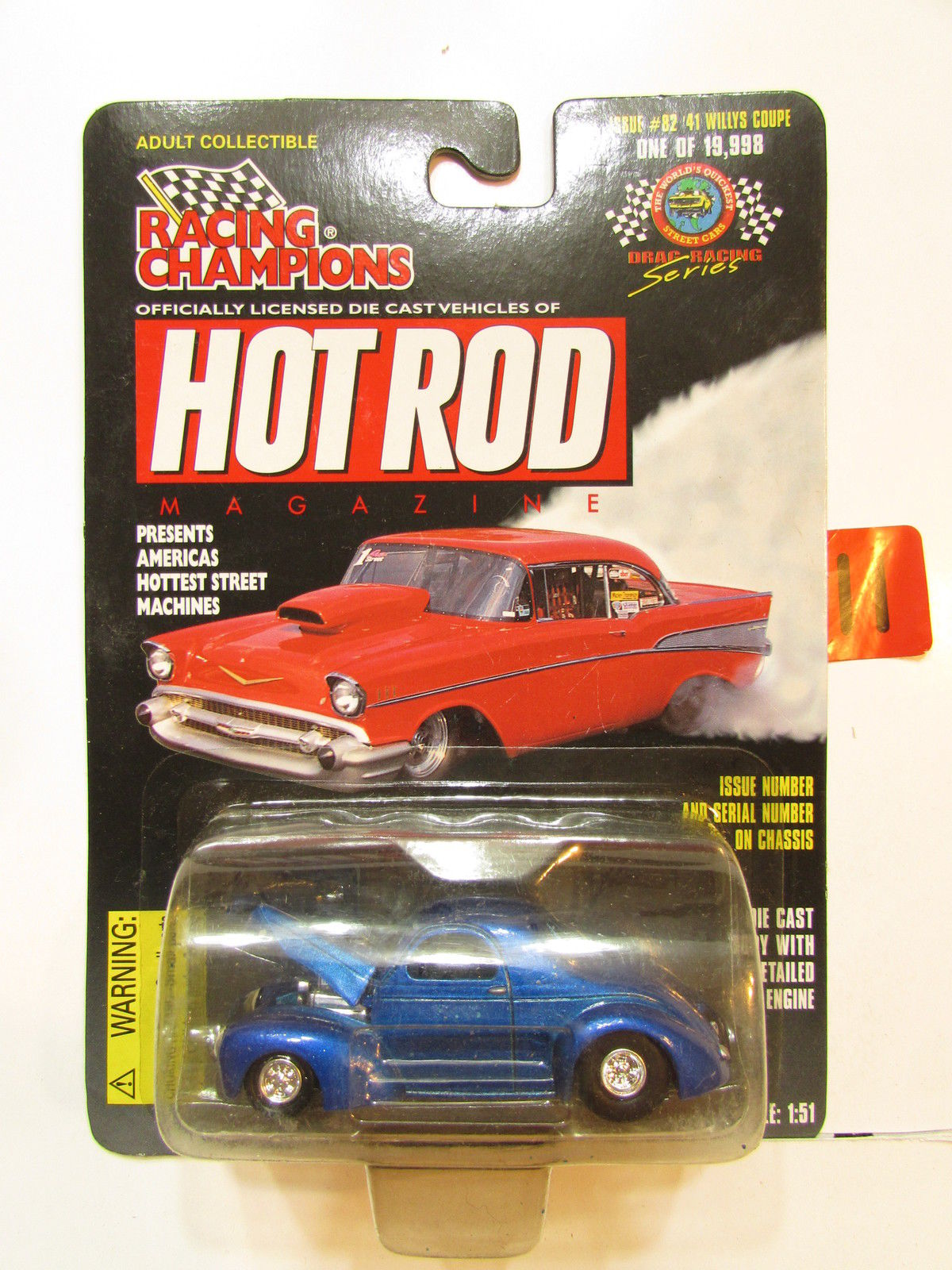 RACING CHAMPIONS HOT ROD ISSUE #82 - '41 WILLYS COUPE 1:51 SCALE