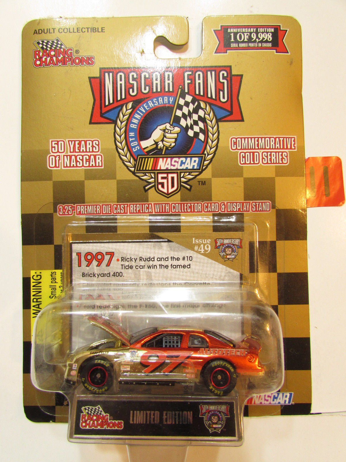 1998 RACING CHAMPIONS NASCAR FANS - ISSUE #49 1997 RICKY RUTT LIMITED EDITION