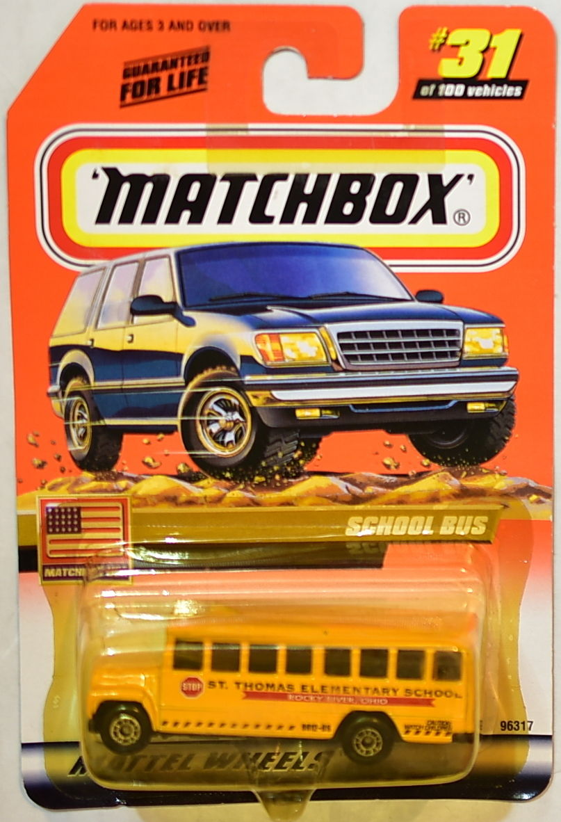 MATCHBOX 2000 TREASURE HUNT #31 OF 100 SCHOOL BUS MATCHBOX USA