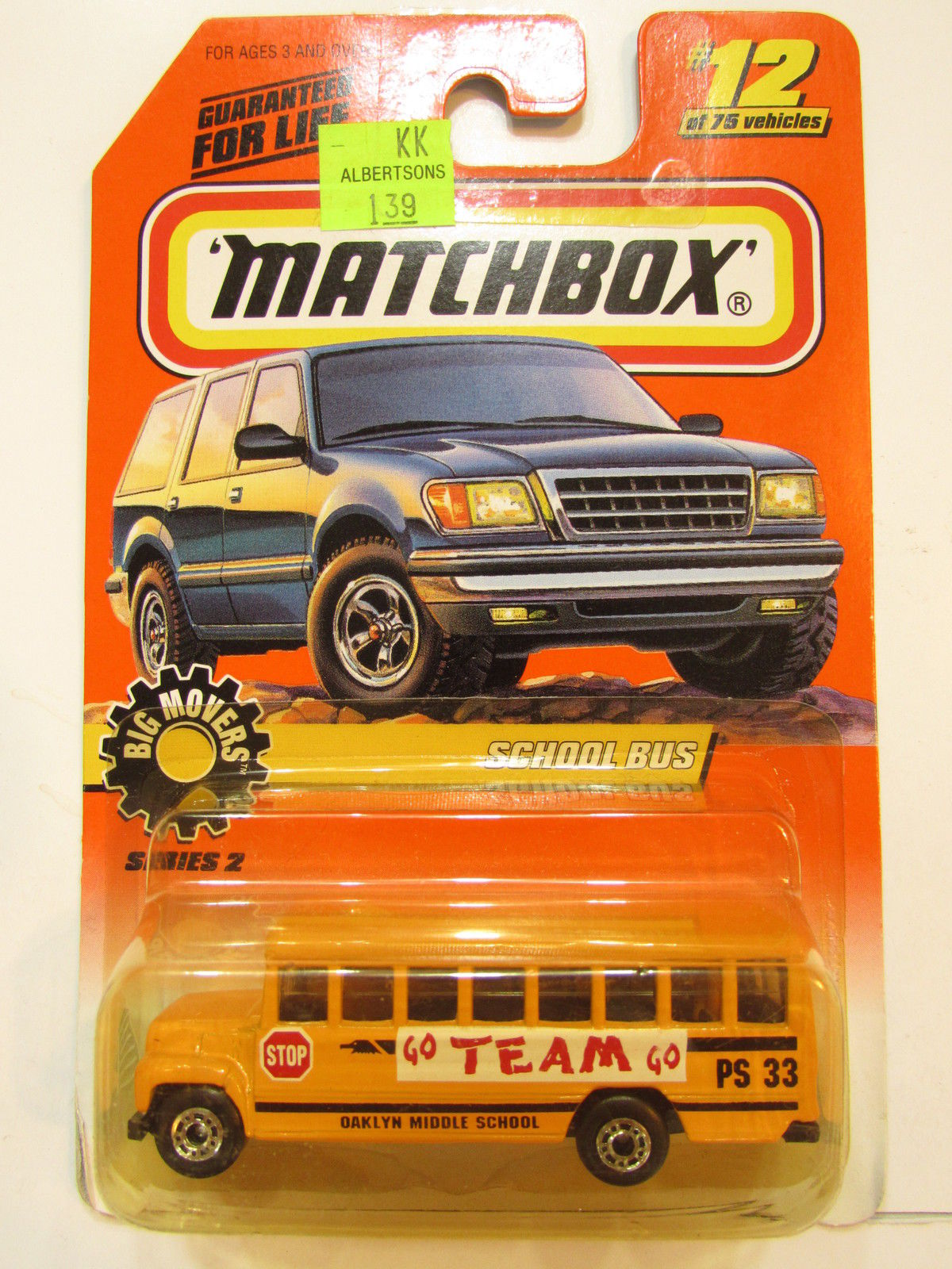 MATCHBOX 1998 #12/75 SCHOOL BUS - BIG MOVERS