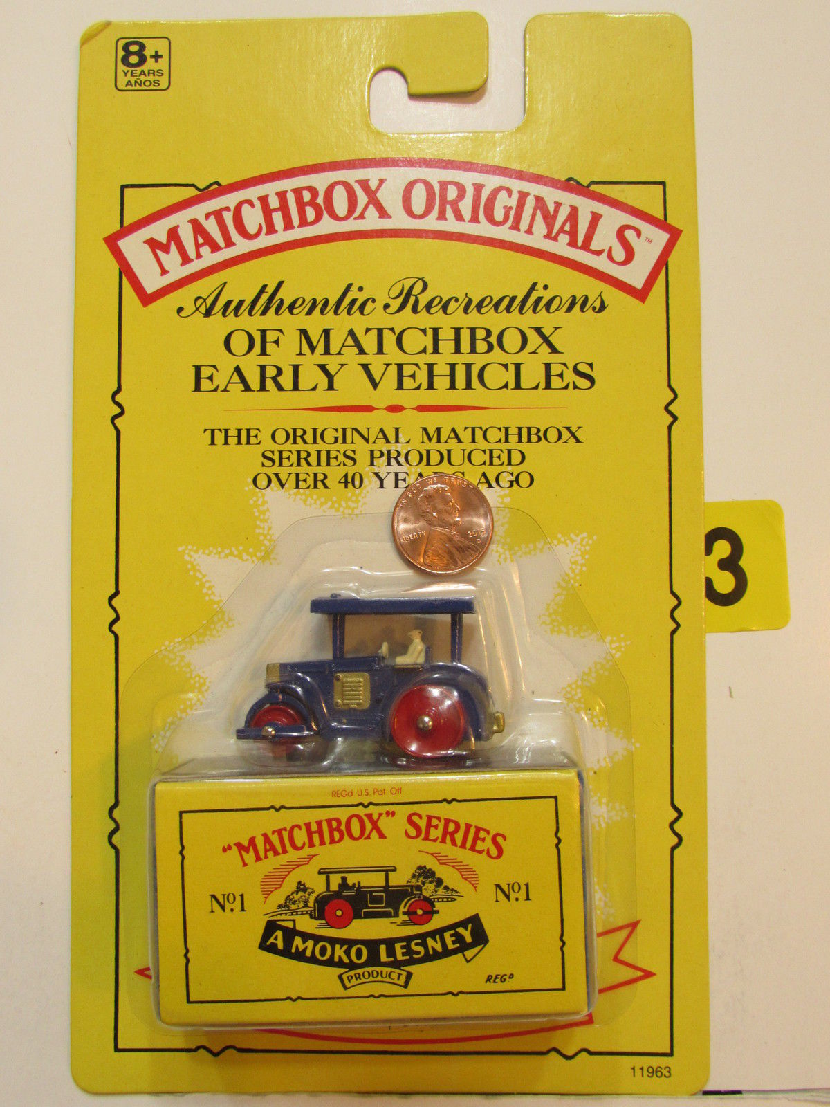 MATCHBOX 1991 ORIGINALS NO.01 AVELING BARFORD ROAD ROLLER AMOKO LESNEY AUTHENTIC