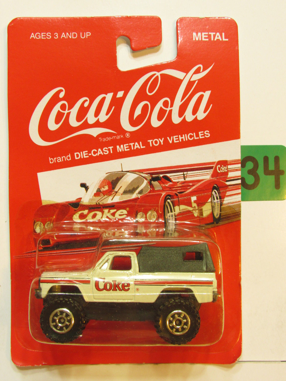 COCA COLA DIE CAST METAL TOY VEHICLES 4X4 TRUCK WHITE E+