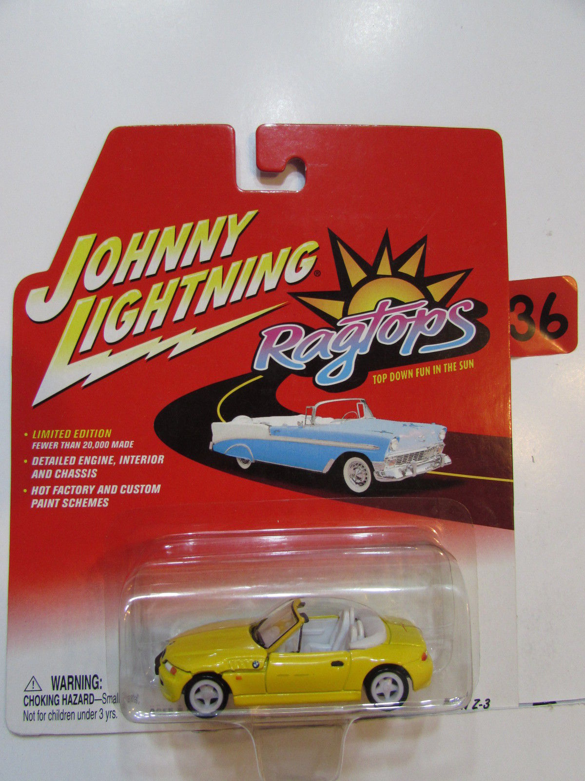 JOHNNY LIGHTNING 2002 RAGTOPS BMW Z - 3 WHITE LIGHTNING