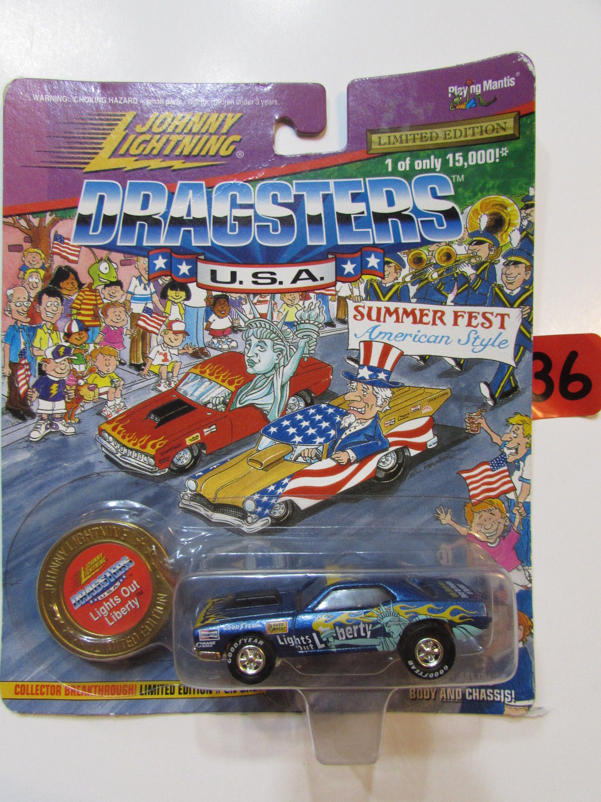 JOHNNY LIGHTNING 1997 DRAGSTERS USA LIGHTS OUT LIBERTY WHITE LIGHTNING E+