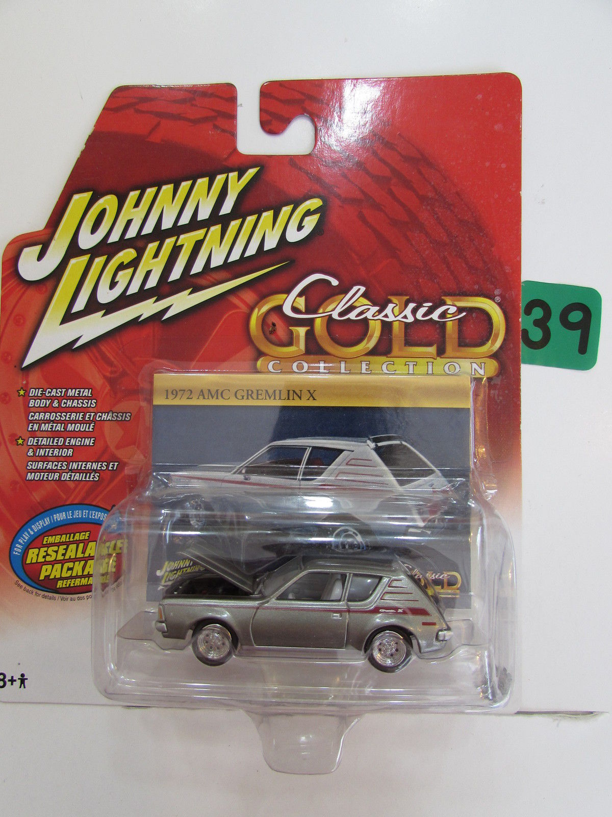 JOHNNY LIGHTNING CLASSIC GOLD COLLECTION 1972 AMC GREMLIN X WHITE LIGHTNING