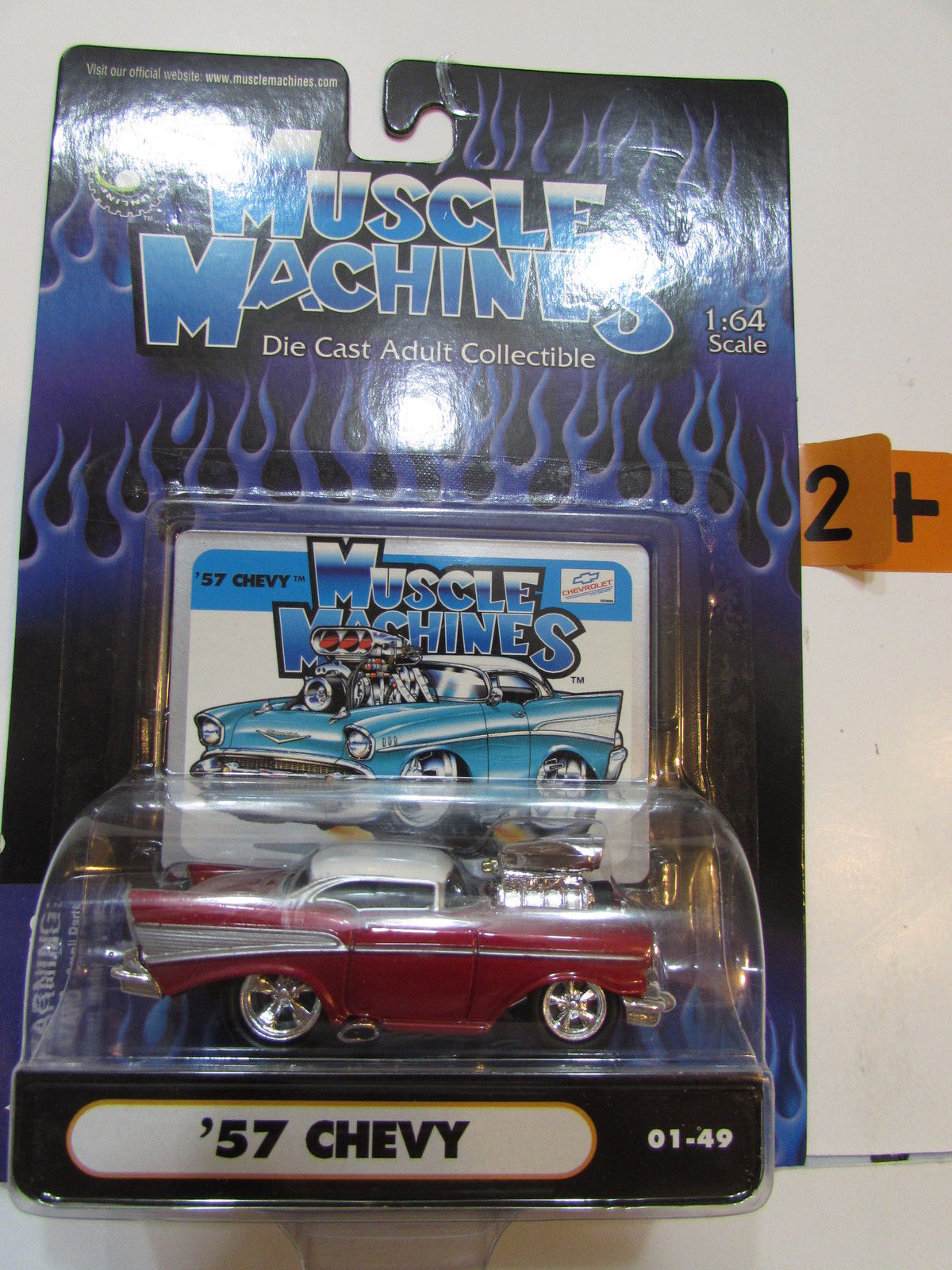 MUSCLE MACHINES '57 CHEVY 01 - 49 1:64 SCALE RED
