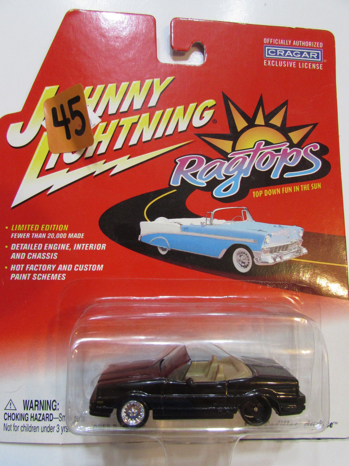 JOHNNY LIGHTNING RAGTOPS 1992 CADILLAC ALLANTE BLACK - WHEEL ERROR