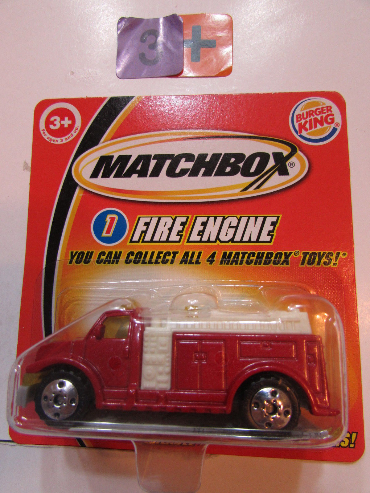 MATCHBOX 2004 BURGER KING - FIRE ENGINE #1 RED - SHORT CARD