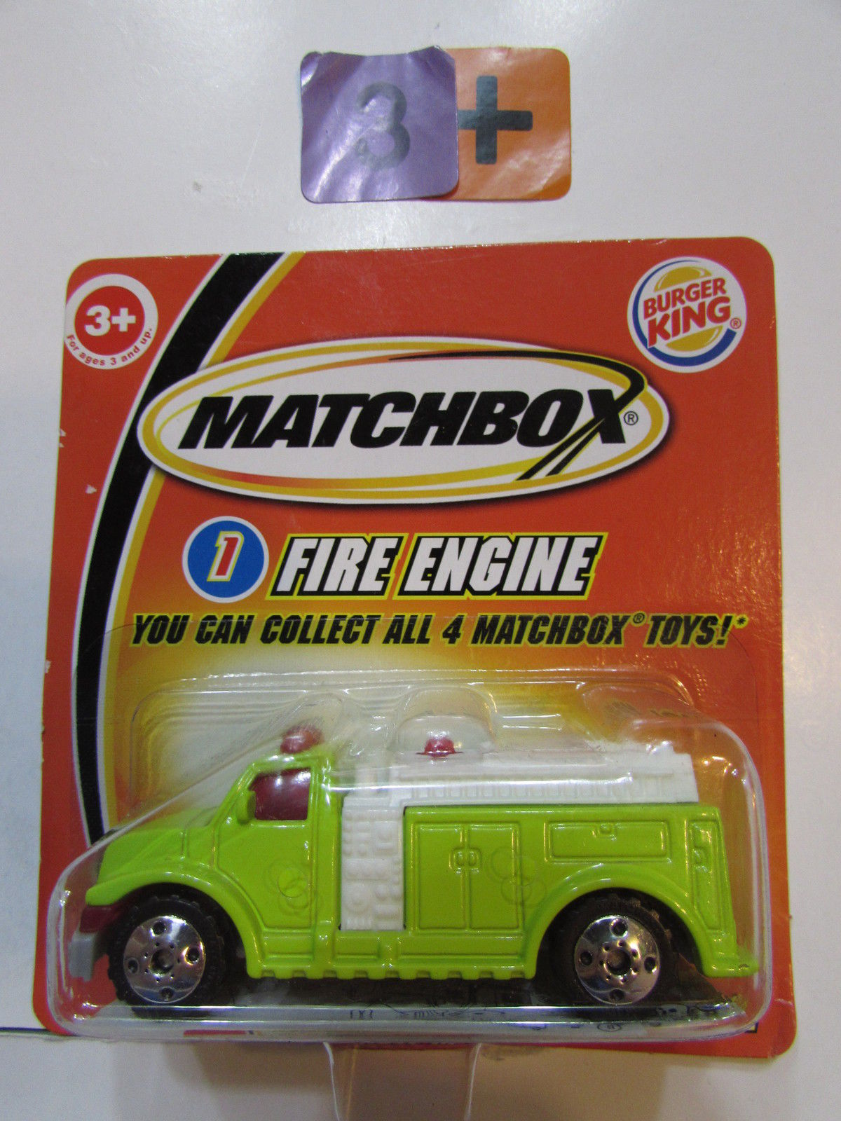 MATCHBOX 2004 BURGER KING - FIRE ENGINE #1 GREEN - SHORT CARD