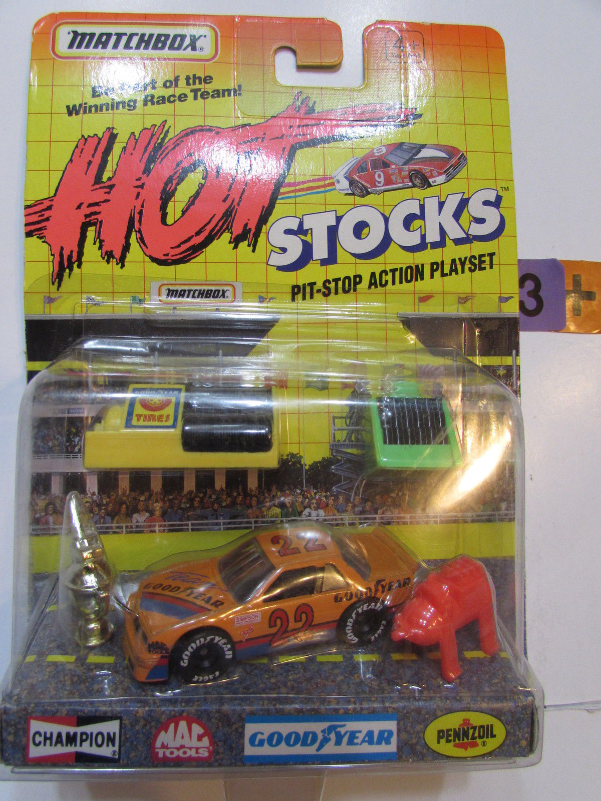 MATCHBOX 1991 HOT STOCKS PIT - STOP ACTION PLAYLIST TEAM GOOD YEAR #22