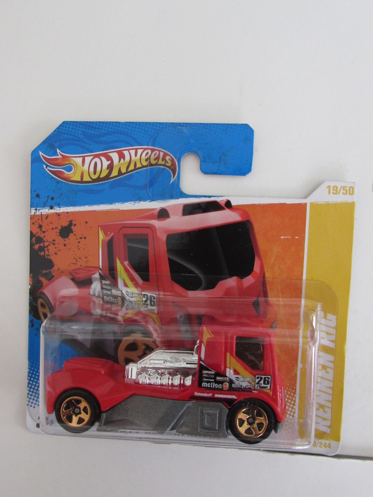 HOT WHEELS 2011 RENNEN RIG - HW PREMIERE #19/50 SHORT CARD RED