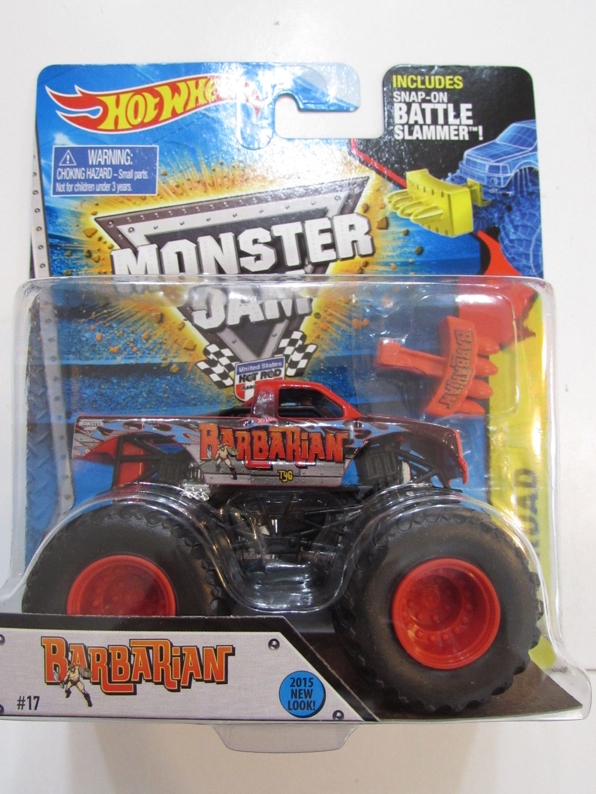 HOT WHEELS MONSTER JAM - BARBARIAN INCLUDES SNAP-ON BATTLE SLAMMER