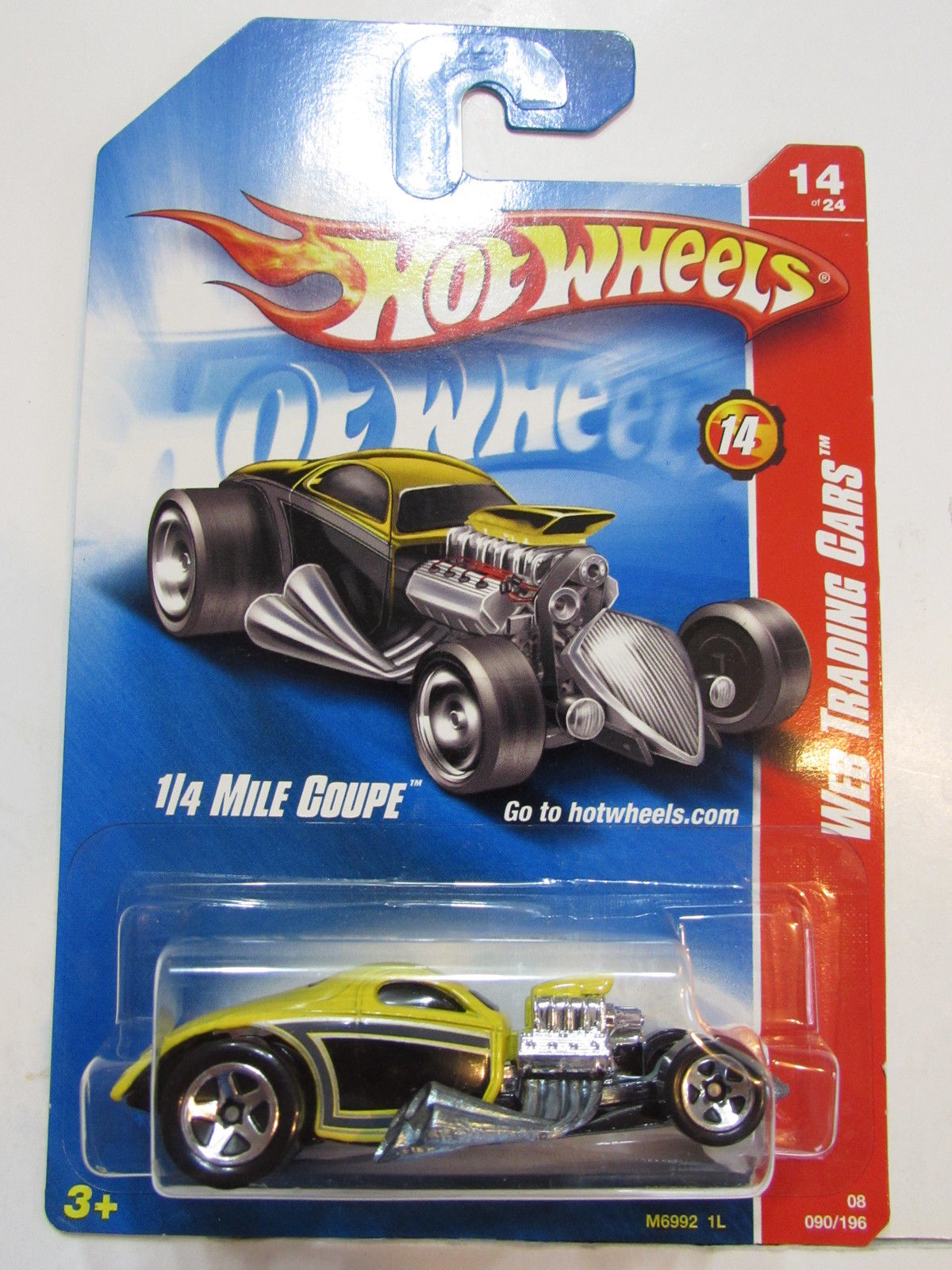 HOT WHEELS 2008 WEB TRADING CARS - 1/4 MILE COUPE YELLOW #14/24
