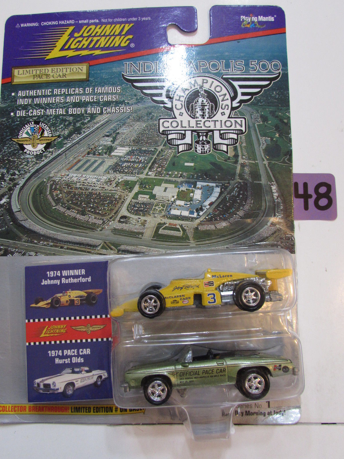 JOHNNY LIGHTNING INDIANAPOLIS 2 CAR PACK 1974 WINNER - 1974 PACE CAR HURST OLDS