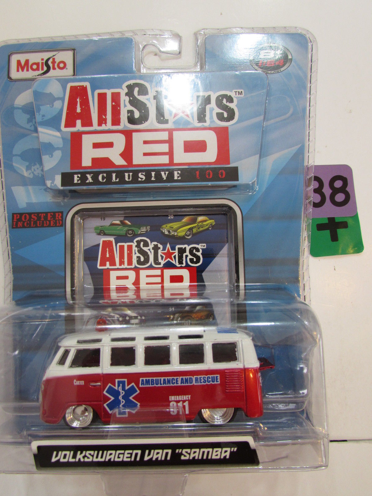 MAISTO ALL STARS RED EXCLUSIVE 100 VOLKSWAGEN VAN SAMBA - AMBULANCE AND RESCUE