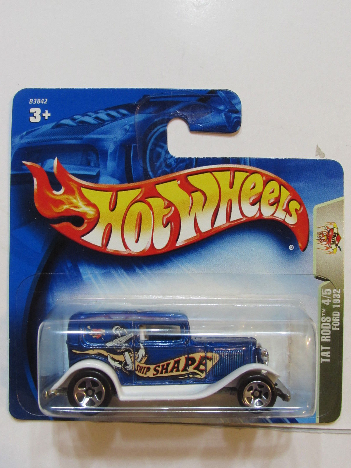 HOT WHEELS 2004 TAT RODS 4/5 FORD 1932 BLUE SHORT CARD