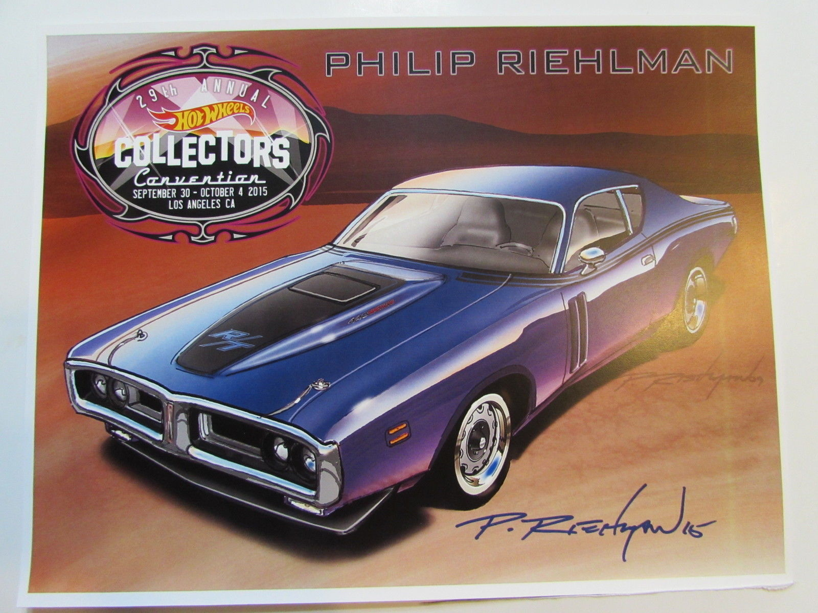 HOT WHEELS 2015 29TH ANNUAL CONVENTION POSTER AUTOGRAPHED BY PHILIP RIEHLMAN