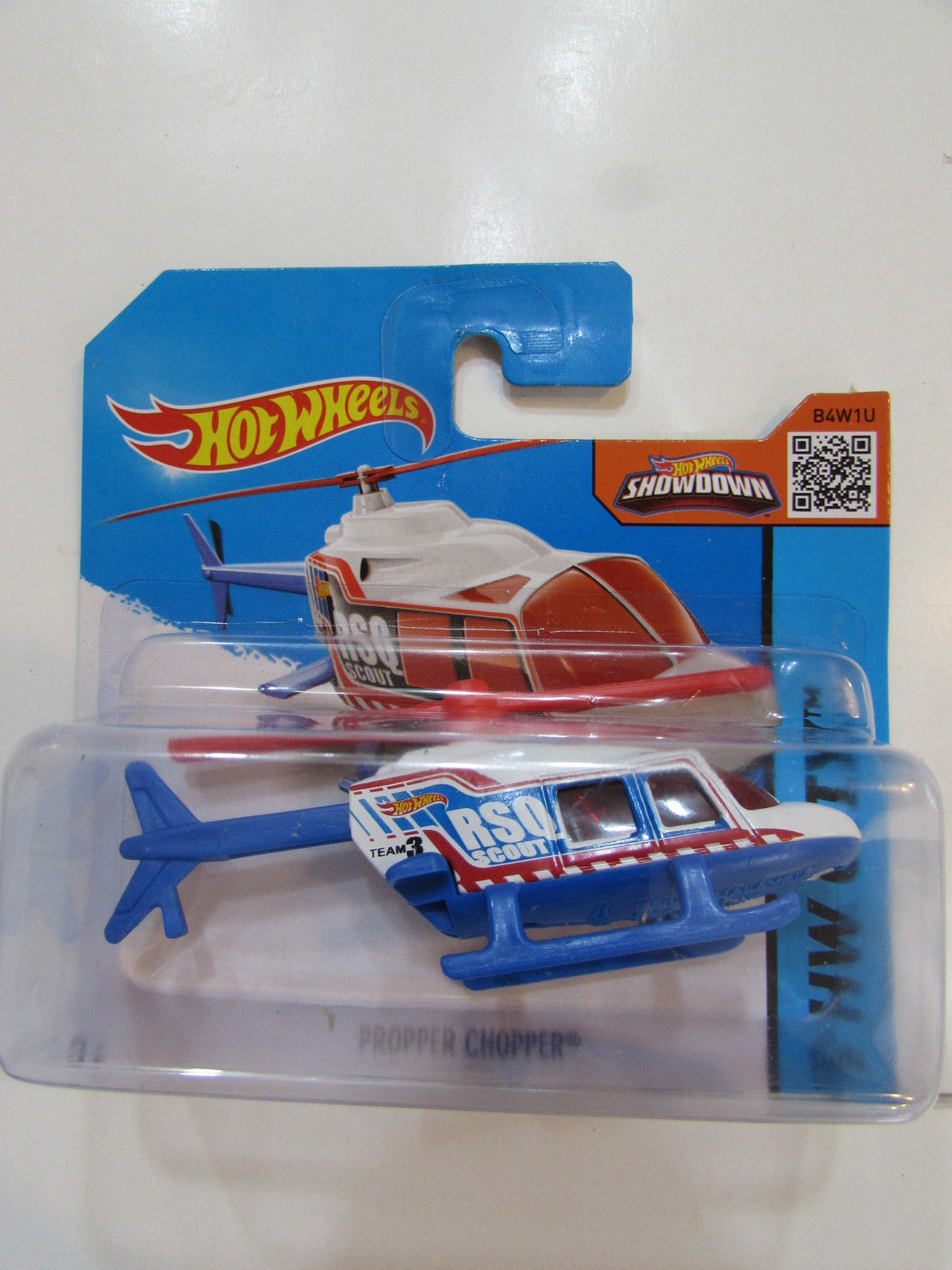 HOT WHEELS 2015 HW CITY - PROPPER CHOPPER BLUE SHORT CARD