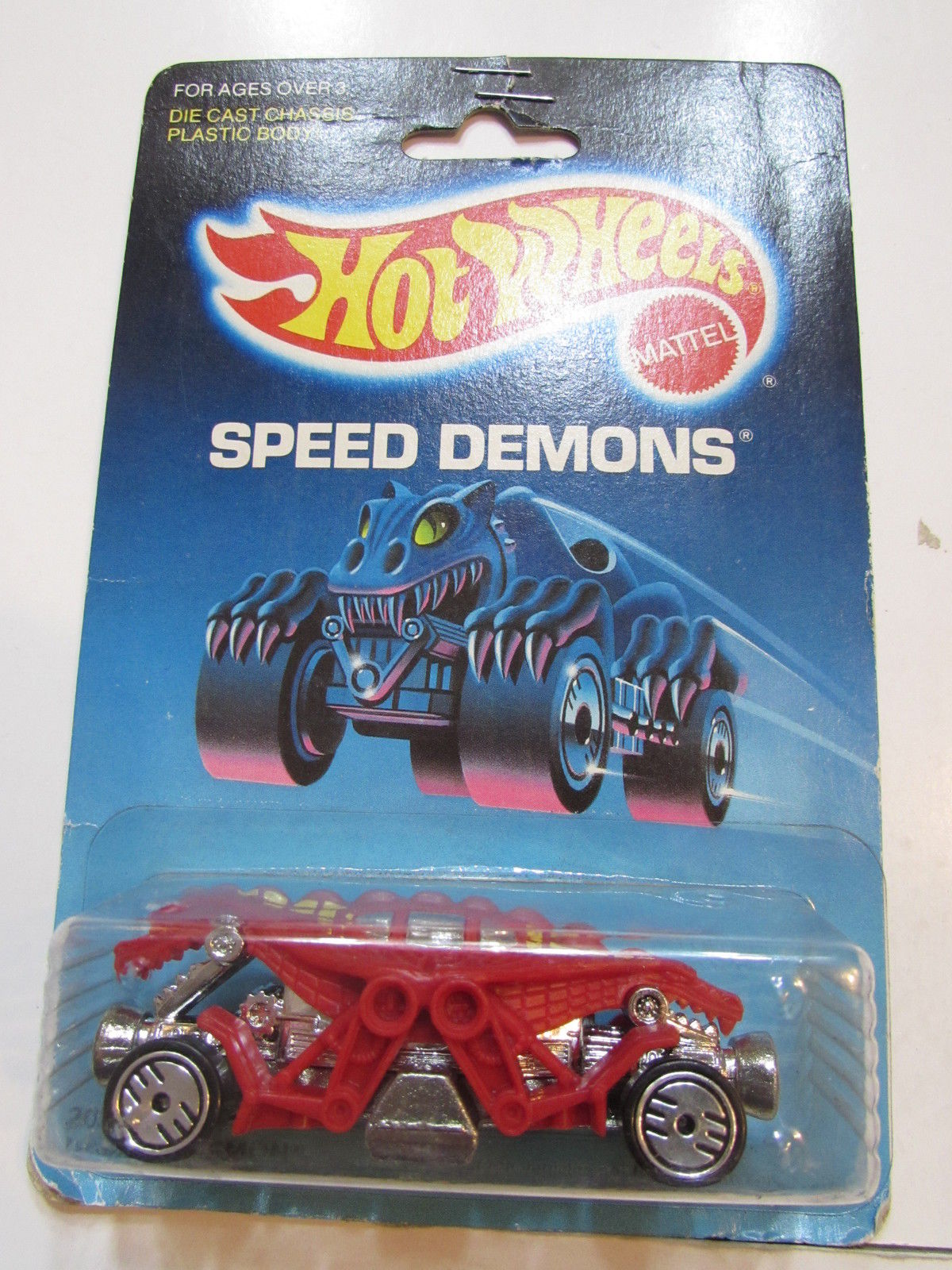 HOT WHEELS 1986 SPEED DEMONS DOUBLE DEMON RED ON UH WHEELS