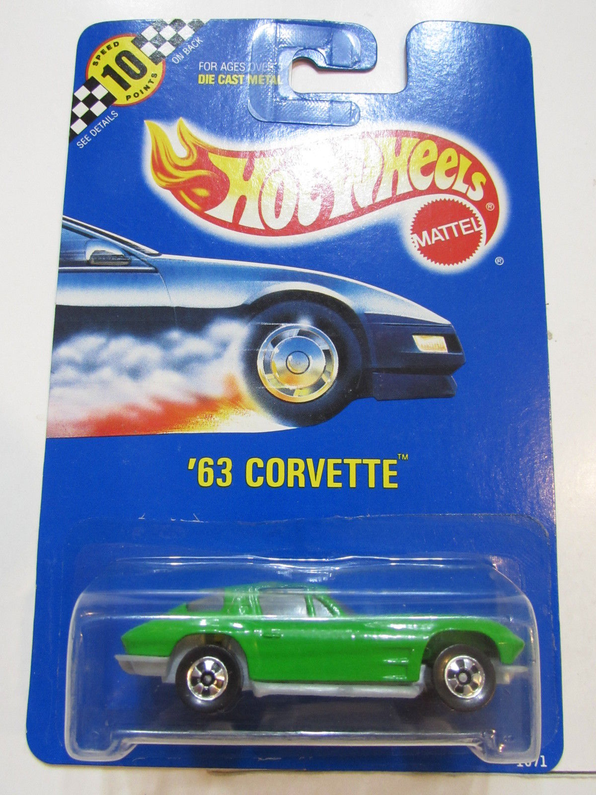 HOT WHEELS 1990 BLUE CARD '63 CORVETTE GREEN