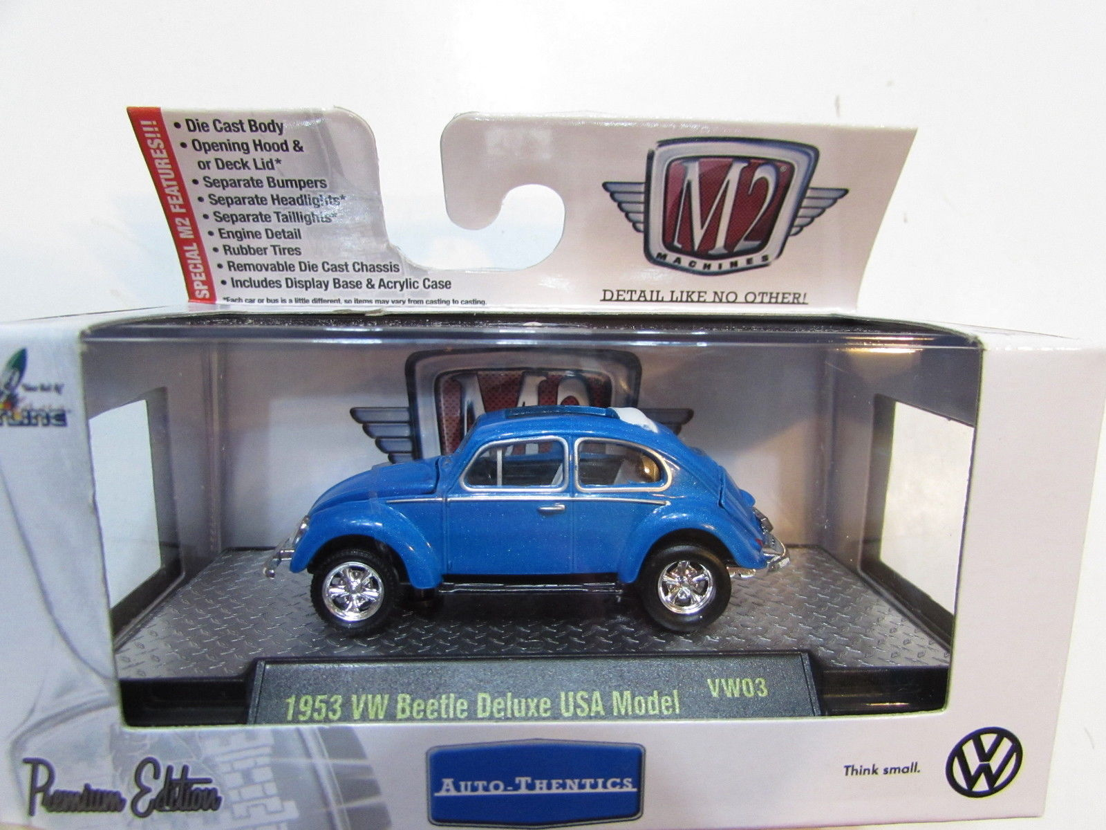 M2 MACHINES AUTO-THENTICS 1953 VW BEETLE DELUXE USA MODEL BLUE E+