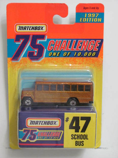 MATCHBOX 75 CHALLENGE 1 OF 10,000 1997 EDITION #47 SCHOOL BUS