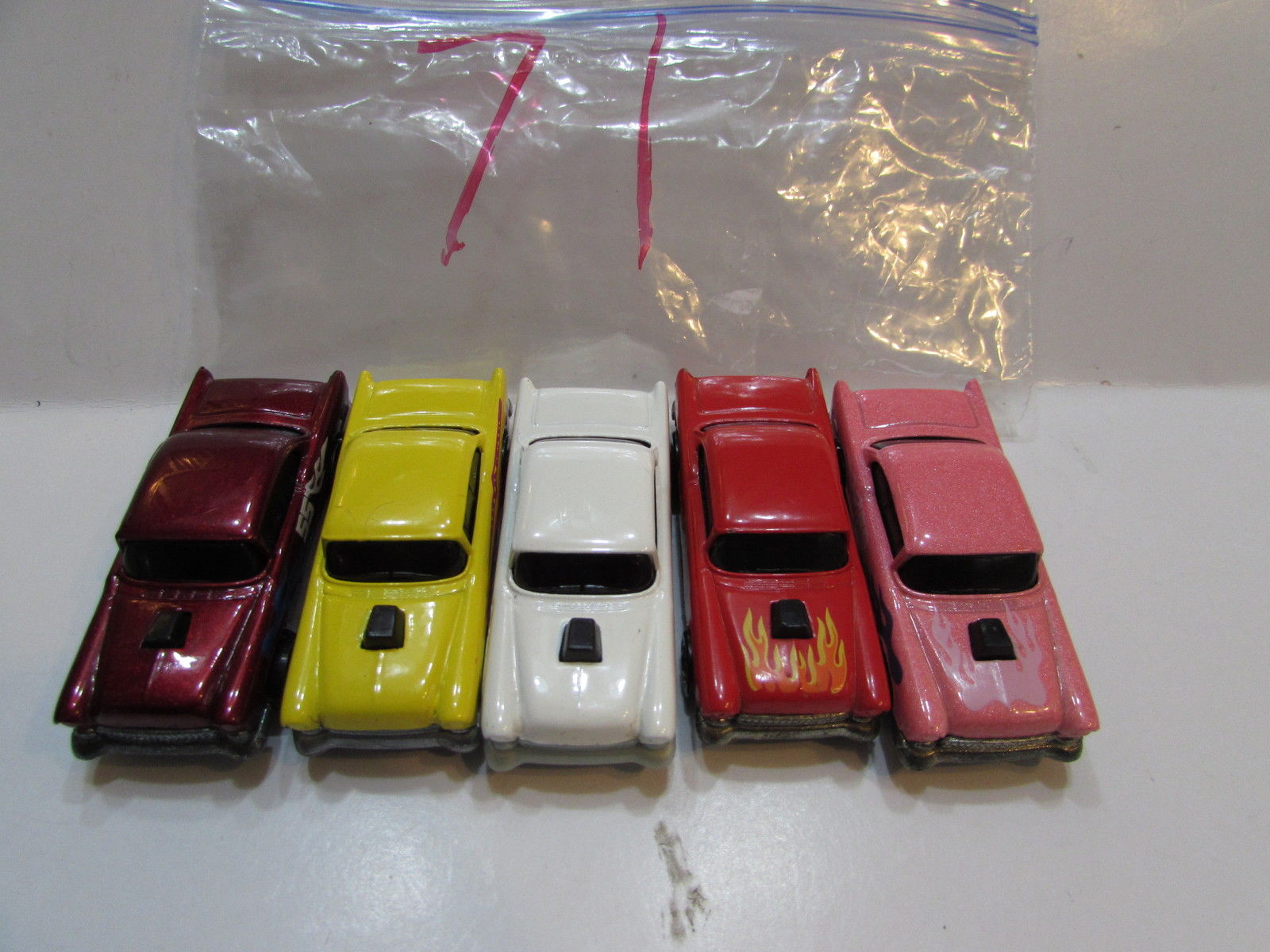 HOT WHEELS LOT OF 5 '55 CHEVY HOT ONES PINK RED YELLOW 1978 1982 MALAYSIA BASE