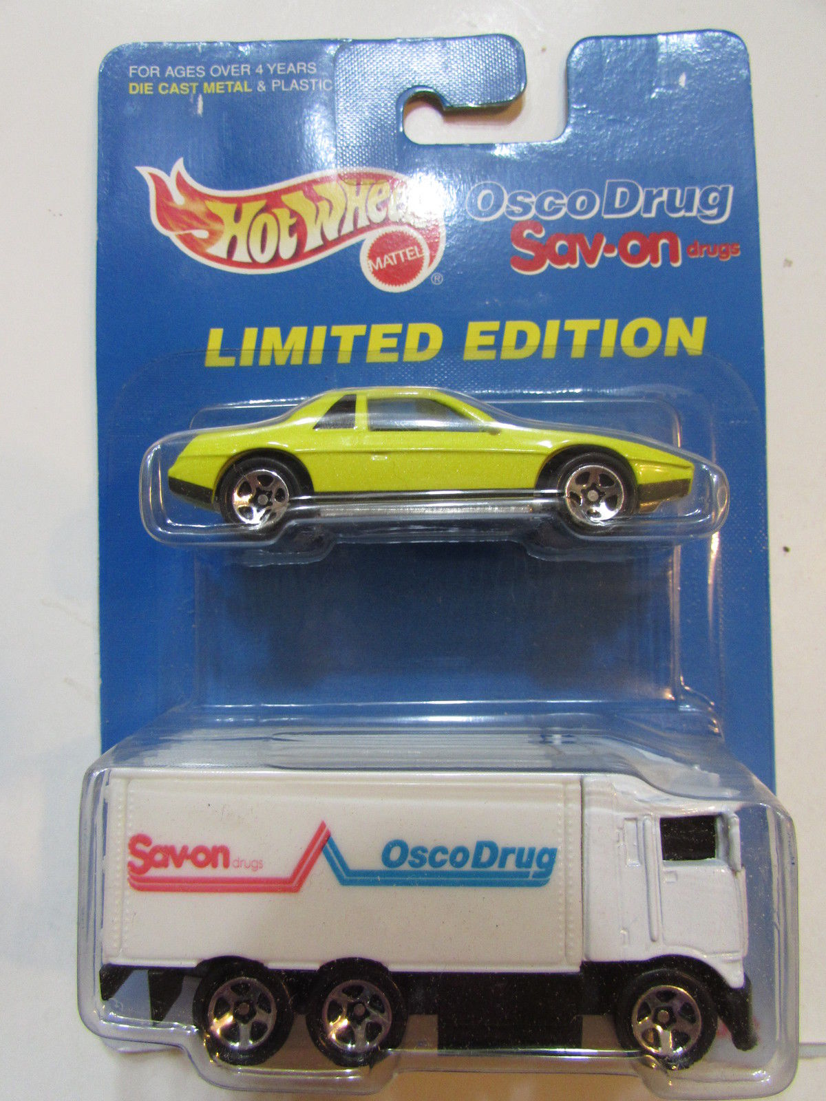 HOT WHEELS 1996 PONTIAC FIERO 2M4 - SAV ON OSCO DRUG HAULER 2 CAR PACK