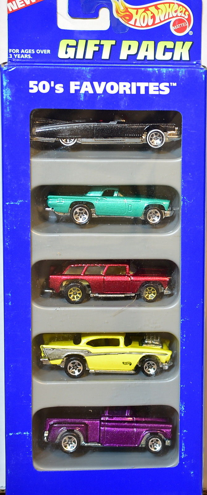HOT WHEELS 1995 GIFT PACK 50'S FAVORITES FLASHSIDER CHEVY CADILLAC 5 CAR PACK