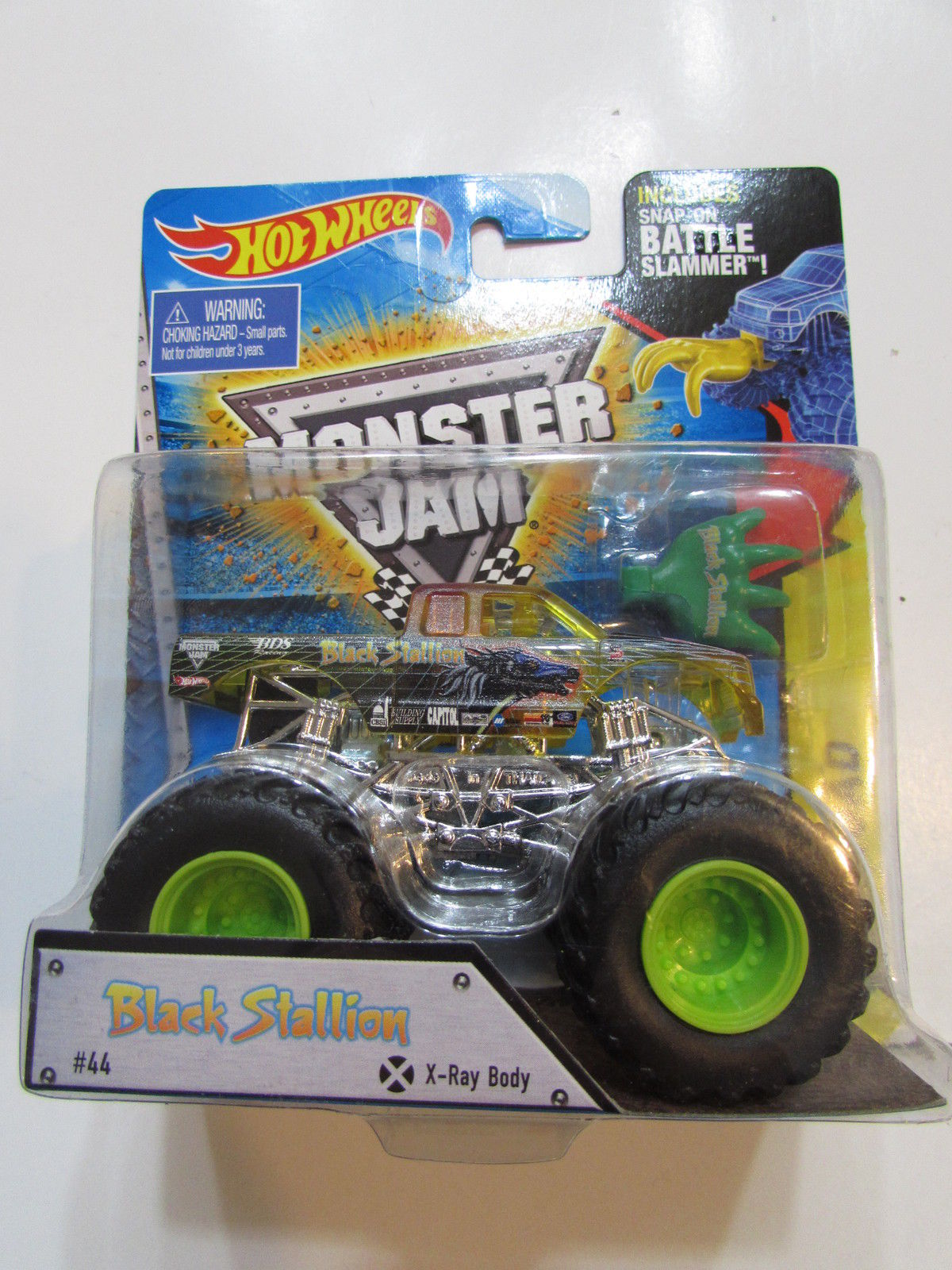 HOT WHEEL MONSTER JAM BLACK STALLION #44 INCLUDES SNAP - ON BATTLE SLAMMER