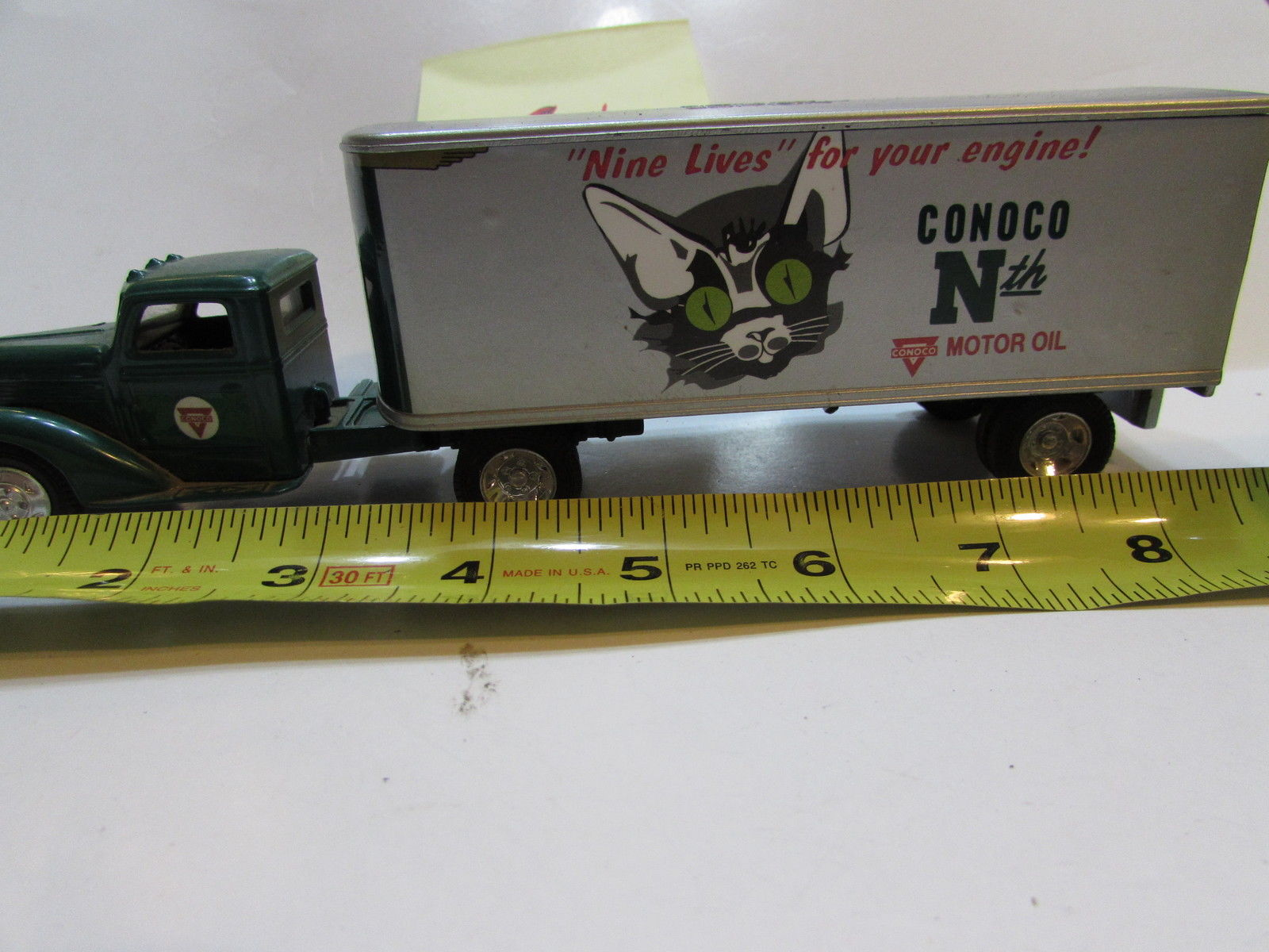 ERTL CONOCO 1948 DIAMOND T CAB W/ 7573 TRAILOR - BANK MADE IN U.S.A #5