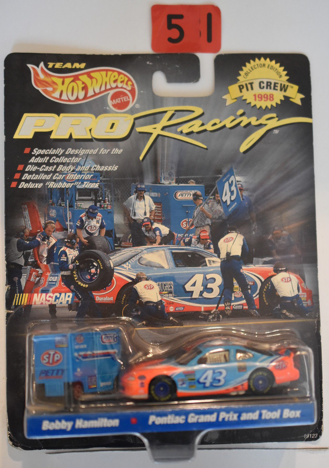 HOT WHEELS PRO RACING PIT CREW BOBBY HAMILTON PONTIAC GRAND PRIX & TOOL BOX #44