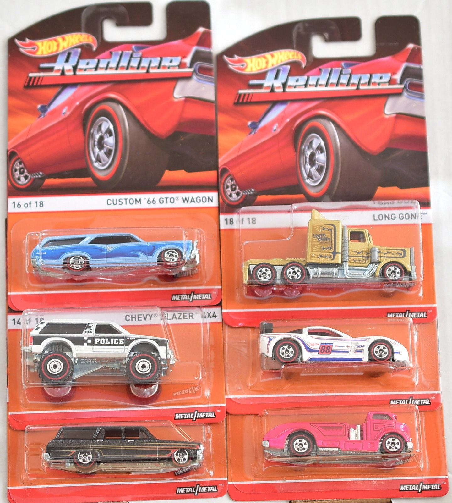 HOT WHEELS HERITAGE REDLINE COMPLETE SET OF 6 WAGON CHEVY LONG GONE CORVETTE