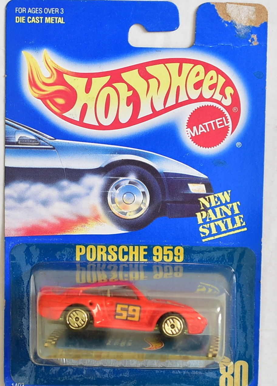 HOT WHEELS 1989 BLUECARD PORSCHE 959 #80 RED