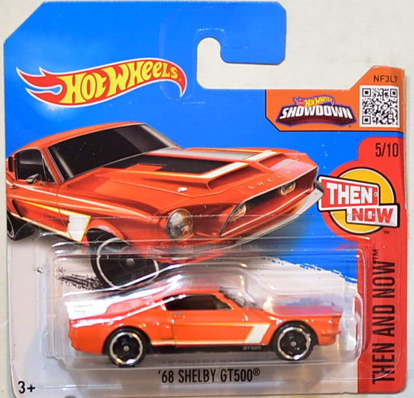 HOT WHEELS 2016 THEN AND NOW - '68 SHELBY GT500 ORANGE SHORT CARD