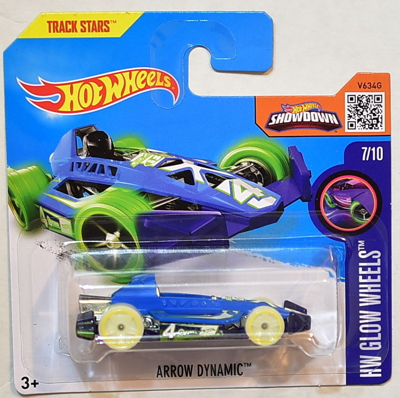 HOT WHEELS 2016 HW GLOW WHEELS ARROW DYNAMIC #7/10 SHORT CARD