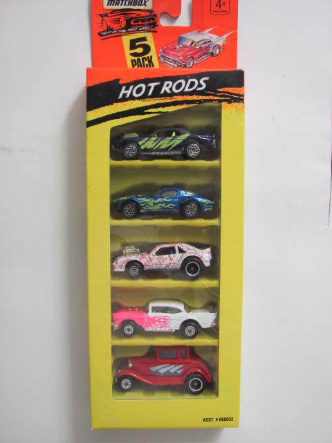 MATCHBOX 5 CAR PACK HOT RODS FORD CHEVY MUSTANG DODGE CORVETTE
