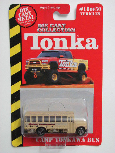 MAISTO TONKA #18 OF 50 DIE CAST METAL CAMP TONKAWA BUS E+