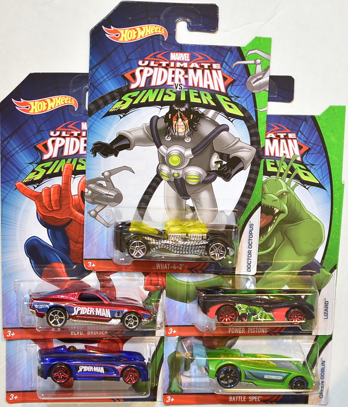 HOT WHEELS MARVEL 2016 ULTIMATE SINISTER 6 SPIDER-MAN SET OF 5 E+