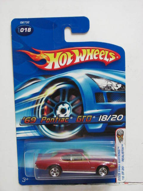 HOT WHEELS 2005 FIRST EDITIONS '69 PONTIAC GTO #018 RED