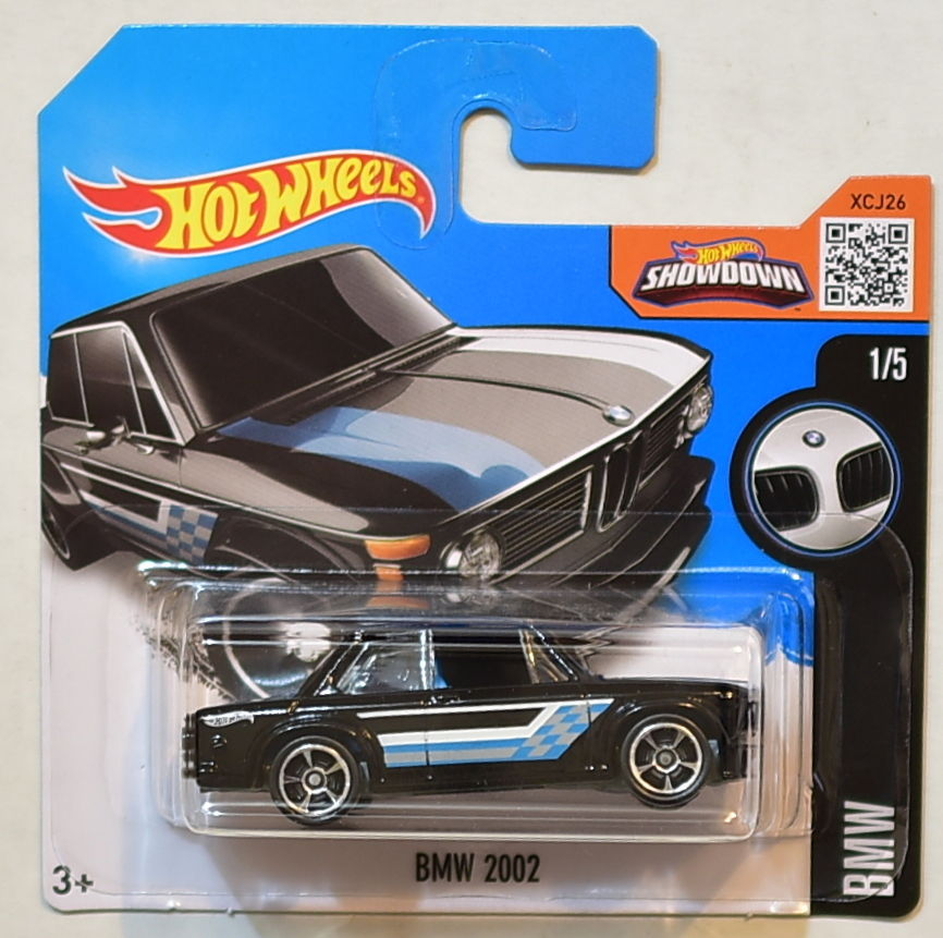 HOT WHEELS 2016 BMW #1/5 BMW 2002 BLACK SHORT CARD